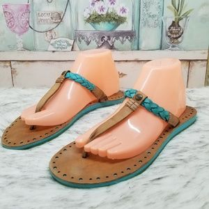 Ugg brown teal leather thong sandals